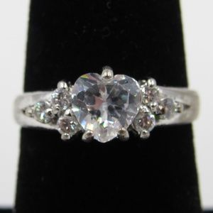 Vintage Size 6 Sterling CZ Diamond Band Ring